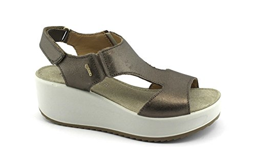 IGI&Co 1176455 Bronce Sandalias de Cuña Zapatos de Cuero rasgan Beige