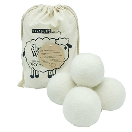 Wool Dryer Balls By Darydens Laundry 6 Pack  Xl Premium Reusable Natural Fabric Softener