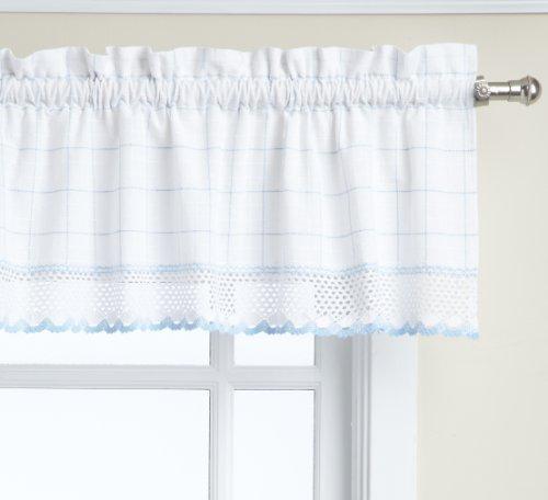LORRAINE HOME FASHIONS Adirondack Valance, 60 by 12-Inch, White/Blue