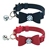 OFPUPPY 2 PCS/Pack Diamond Breakaway Cat Collars with Bell - Bow Tie Style Adjustable for Kitty and Kittens