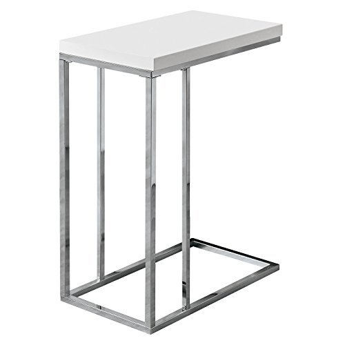 - Monarch Specialties I 3008, Accent Table, Chrome Metal, Glossy White