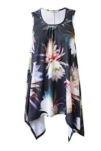 Boutique - Camisa sin mangas para mujer, con dobladillo y acampanada, disponible en tallas grandes Floral Black