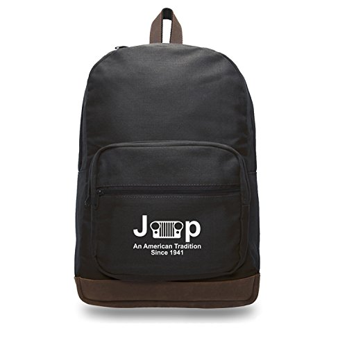 Teardrop Accent - Jeep An American Tradition Teardrop Backpack Leather Accents Black & White