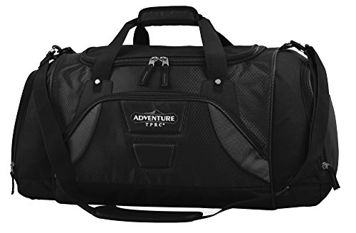 "Price comparison product image TPRC 20"" ""Adventure"" Multi-Pocket Spacious Weekender Duffel with Shoe Pocket Constructed with Honeycomb Designed RIP-STOP Material,  Black Color Option"