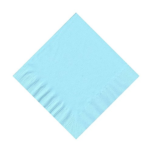 50 Plain Solid Colors Beverage Cocktail Napkins Paper - Light (Blue Cocktail Drinks)