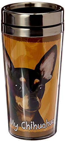 Breed Stainless Steel Travel Mug - E&S Pets Stainless Steel Chihuahua Black Tumbler, 16 oz