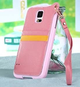 Moonmini Soft TPU and PU Leather Flip Cover Case with Credit Card Slots and Detachable Wristlet Strap for Samsung Galaxy S5 SV - Pink