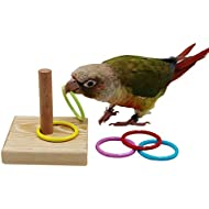 QBLEEV Bird Training Ring Toy, Parrot Trick Tabletop Toys, Bird Educational Toys, Stacking Color Rings,Bird Cage Toys