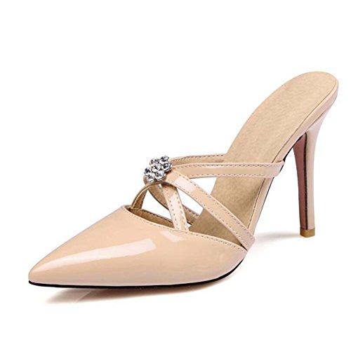 Blanco de Zapatos punta Beige de aguja SHINIK tacón 34 Zapatos de de estrecha alto mujer de Sandalias de 39 Negro Amarillo tacón cristal Beige Rosa Talla 44RxZ