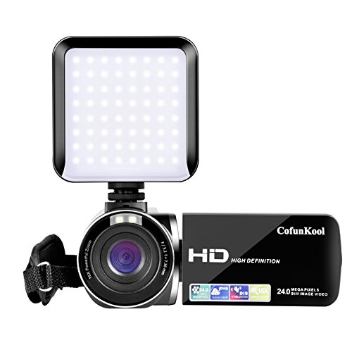 Camcorder, CofunKool HD Video Camera 1080P 24MP 16X Digital Zoom Video Camcorder with LED Video Light Face Capture Pause Function by CofunKool