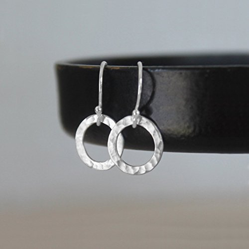 Tiny Circle Earrings - Sterling Silver Hammered Minimalist Earrings - Everyday (Round French Wire Earrings)
