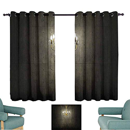 - DILITECK Windshield Curtain Grunge Home Decor Classic Golden Chandelier in a Dark Gothic Wooden Room Vintage Style Room Picture Thermal Insulated Tie Up Curtain W72 xL72 Golden and Olive Green