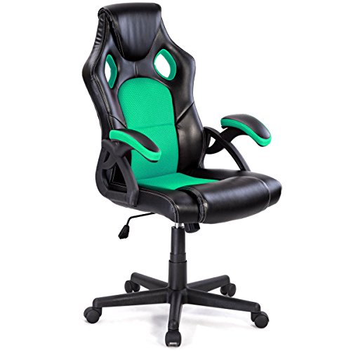 Officelax Gaming Chair Racing Style High Back Ergonomic PU Leather Office Chair Executive Modern Adjustable Computer Desk Chair Swivel Task Chair with Bucket Seat (green) by Officelax