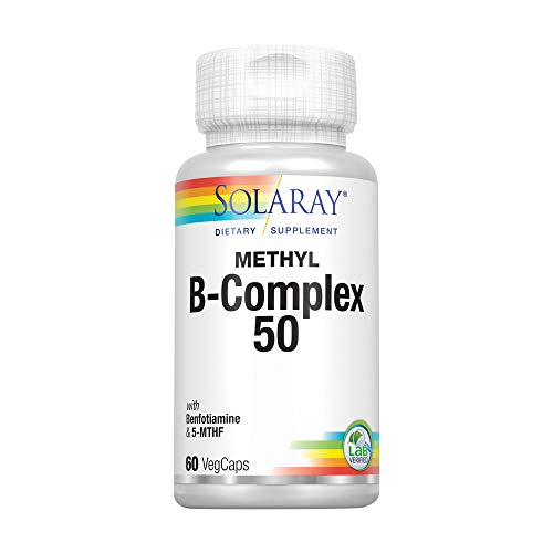 Solaray Methyl B-Complex 50mg | Methylated Forms of Folate & B-12 | Healthy Hair & Skin, Nerves, Immune Function & Metabolism Support | 60 VegCaps