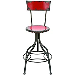 Plutus Brands Old Look Fire Engine Red Bar Chair with Adjustable Seat
