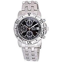 Oskar-Emil Classic Chrongraph Caesium 1119G SS Men's Quartz Watch Black Dial Analogue Display Silver Stainless Steel Bracelet RRP $495