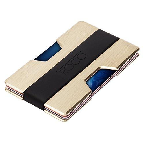 ROCO Minimalist Aluminum Slim Wallet RFID BLOCKING Money Clip - No.2 (Gold)