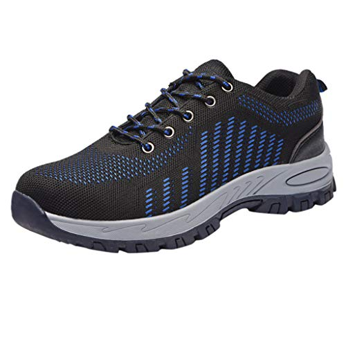 CCFAMILY Women's Mens Breathable Sneakers Mens Anti-Smashing Piercing Shoes Boys Classic Safety Work Sports Sneakers Blue
