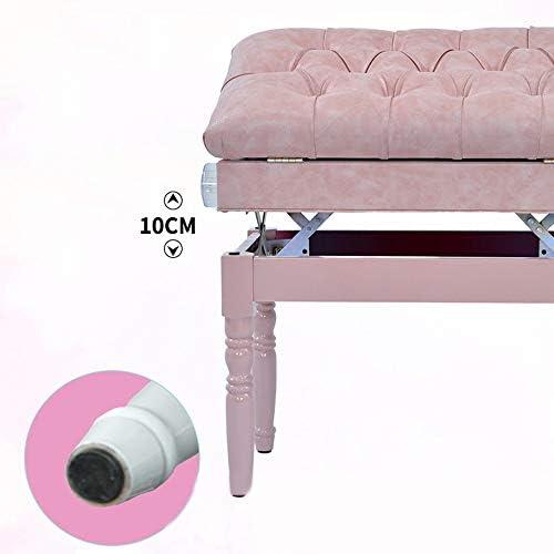 ピアノベンチ ソリッドウッド調節ピアノスツール1人用クリスタルバックルピンクのプリンセススタイル子供楽器チェア ピアノに最適 (Color : Pink, Size : 56x37x56cm)