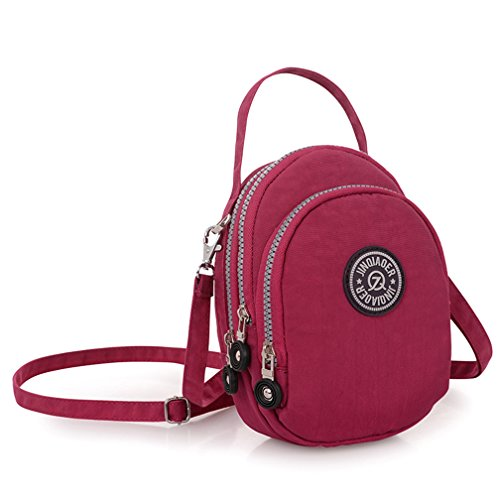 Rosso impermeabile piccola Crossbody luce donna in Bag Borsetta viaggio tracolla nylon Messenger Borgogna Tote Borse 4qg0qO