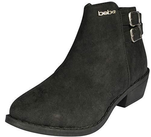 bebe Girls Distressed Metallic Ankle Boot, Black, 13 M US Little Kid'