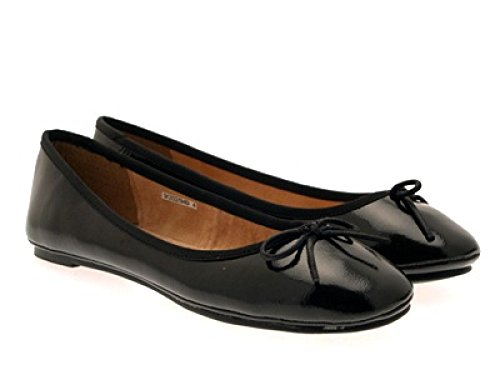 GIRLS SIZE LEATHER SCHOOL LADIES SHOES MATT patent PUMPS WOMENS FLAT black PATENT 3 BALLET 8 NEW RPq5cwEWc
