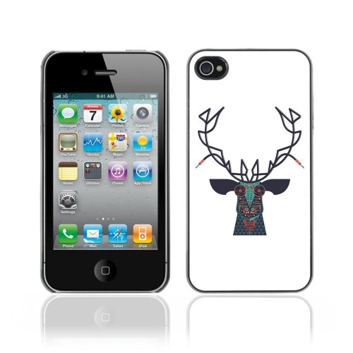 Licase Coque Étui Housse de protection pour Apple iPhone 4/4s - Hipster Design Moose