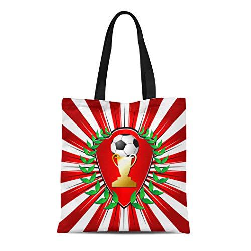 Semtomn Cotton Canvas Tote Bag Red Stripes Soccer Shield Laurel Over Striped Trophy Achievement Reusable Shoulder Grocery Shopping Bags Handbag Printed