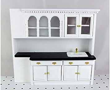 Melody Jane Casas de Muñecas Miniatura Blanco Moderno Madera Juego De Muebles De Cocina equipada