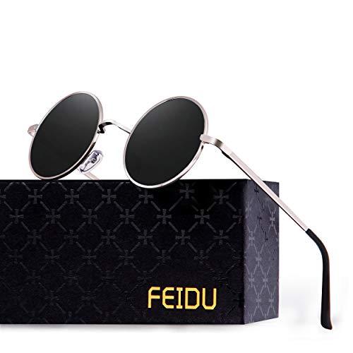 FEIDU-Men Round Retro Polarized Sunglasses Women Vintage Sunglasses FD3013 (Black/Silver, 1.81) (Glass Round Cross)