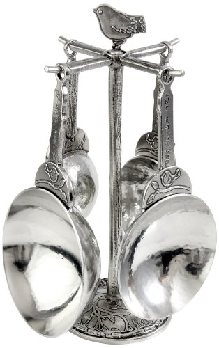 Crosby & Taylor Bird Pewter Measuring Cup Set on Pewter Display Post