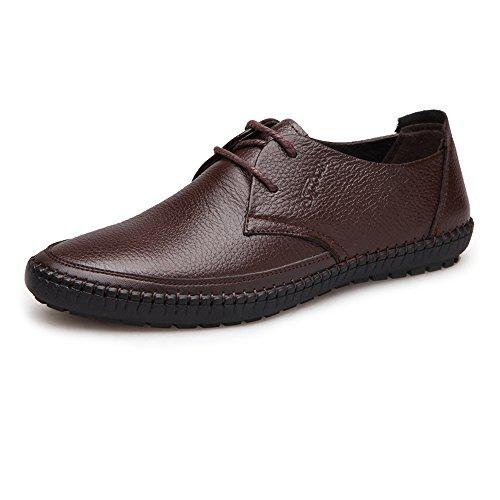 Marron 9.5 MUS XHD-Chaussures Chaussures de Confort Classiques Chaussures pour Hommes Bout Rond en Cuir de Vachette véritable supérieur Lacets Plats Mocassins à Semelle Souple (Couleur   Marron, Taille   9.5 MUS)