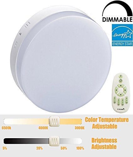 W-LITE Dimmable Led Ceiling Light 18W 1440lm Flush Mount Round Panel lighting Color and Brightness Adjustable with Remote Controller for Kitchen Bedroom Dinning Room Closet Hotel Bathroom
