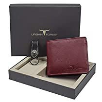 Urban Forest Leo Brown Leather Wallet and Keyring Combo Gif