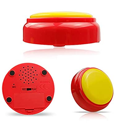 Cover Recordable Talking Button Sound Button Answer Buzzer Yellow and Red: Toys & Games