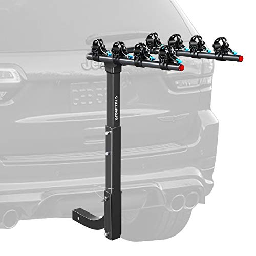 IKURAM 4 Bike Rack Bicycle Carrier Racks Hitch Mount Double Foldable Rack for...