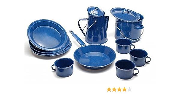 Pieza 13 Esmalte Kochset Occidental para 4 Personas Set De Vajilla Set De Cocina Camping Esmalte Azul