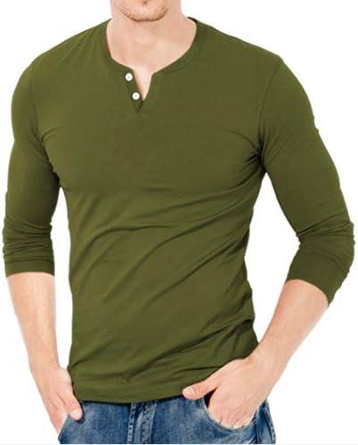 KUYIGO Mens Casual Slim Fit Long Sleeve Henley T-Shirts Cotton Shirts
