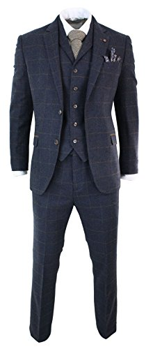 Mens Herringbone Tweed Navy Blue Check 3 Piece Wool Suit Peaky Blinders Tan ()