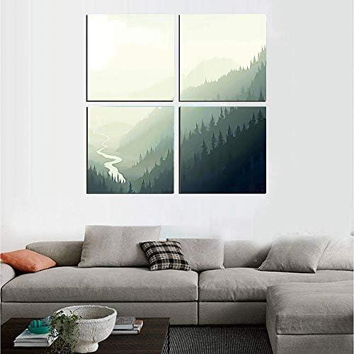 Abstract 絵画 アートパネル アートフレーム 朝の霧の霧のアートワークで川と渓谷の松の木の空撮 40x40cm 風景 HD しゃしん 4パネルセット(木枠付きの完成品)