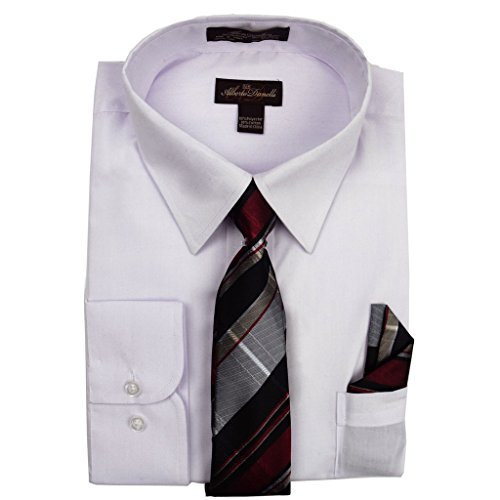 Alberto Danelli Men's Long Sleeve Dress Shirt with Matching Tie and Handkerchief, XXLarge / 18-18.5 Neck -35/36 Sleeve, White