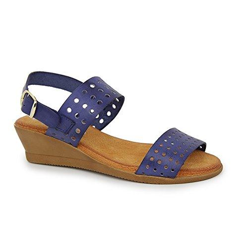 Sandalia Minicuña En Piel Azul Marino AZUL MARINO