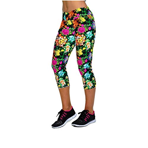 ZDTXKJ Women's Yoga Pants Body Shaping High Waist Cropped Print Pants Yoga Leggings,Multicoloured16,L ()