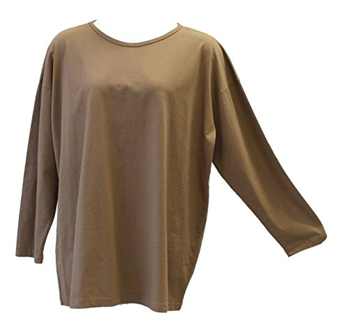 Liz and Jane Women's Solid Oversized Long Sleeve Round Neck Tee T-Shirt Plus Size LT5 (3X, Walnut)
