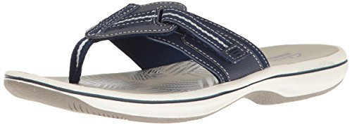 CLARKS Women's Brinkley Jazz Flip Flop, Navy Synthetic, 5 M US