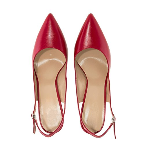 EDEFS Womens Slingback High Heels Pointed Toe Court Shoes Stiletto Pumps Red XTL4ZC6Zlb