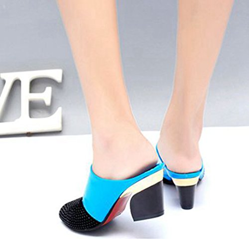 Fashion Paillettes Bloc Sandales Robe Strass Marin Talon Wedges Toe Peep Diapositives Bleu Sandales à Plateforme Womens dU0Rwnd
