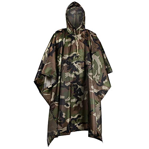 LOOGU Military Camouflage Rain Poncho,Waterproof Raincoat with Hoods for Outdoor Camping Hunting Hiking (New US Jungle)