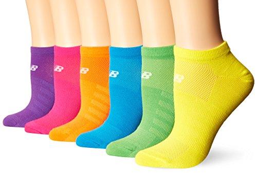 Yellow New Balance (New Balance No Show Socks (6 Pack), Red/Orange/Yellow/Green/Blue/Purple, Shoe Size: Women's 6-10/Men's 7.5-9 (Medium))