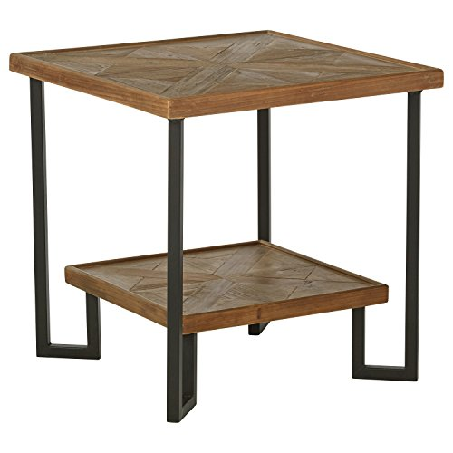 Stone Beam Bernice Industrial Reclaimed Fir Wood Side End Table, 20 W, Natural and Black